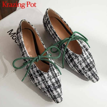 Krazing pot new sweet fairy genuine leather ladies shoes small square toe slip on loafers women dating lace up bowtie pumps L71