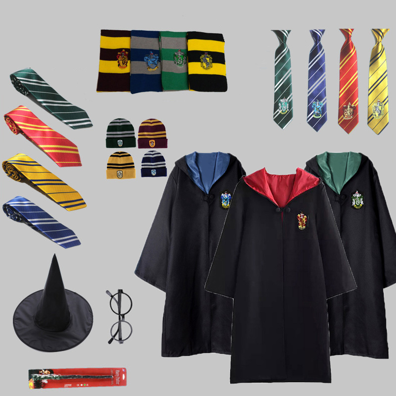Kids Adult Gryffindor Costumes Potter Robe Cape Hat Scarf Tie Warm Ravenclaw Hufflepuff Slytherin Cloak Potter Cosplay D2103AD