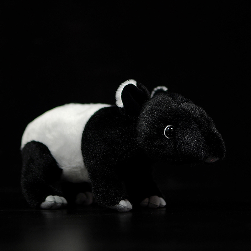 New Cute Asian Asiatic Tapir Stuffed Plush Toy Malayan Indian Tapir Doll Black Animals Simulation Real Life Soft Kids Child Gift