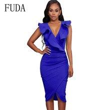 FUDA Summer Bodycon Bandage Dress Women Vestidos Sexy Elegant Ladies Wrap Sleeveless V Neck Ruffles Casual Party Club