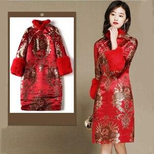 Image 5 - חורף ארוך שרוול מעודן vestido סיני שנה החדשה שמלת Cheongsam בציר אדום מסיבת שמלות Qipao מזרחי שמלת כלה