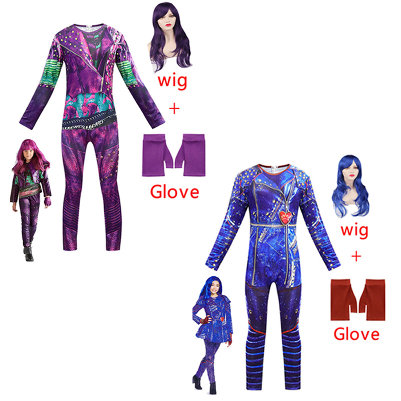 Descendants Mal Fancy Costumes Girls Mal Dress Up Onesies Kids Evie Cosplay Outfits Halloween Evil Role Playing Outfits With Wig