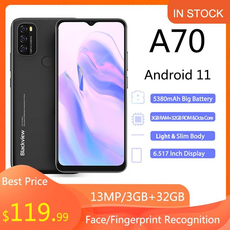 Blackview A70 Смартфон Android 11 6,517 дюймов дисплей Восьмиядерный 3 ГБ ОЗУ + 32 Гб ПЗУ 5380mAh13MP камера заднего вида 4G мобильный телефон