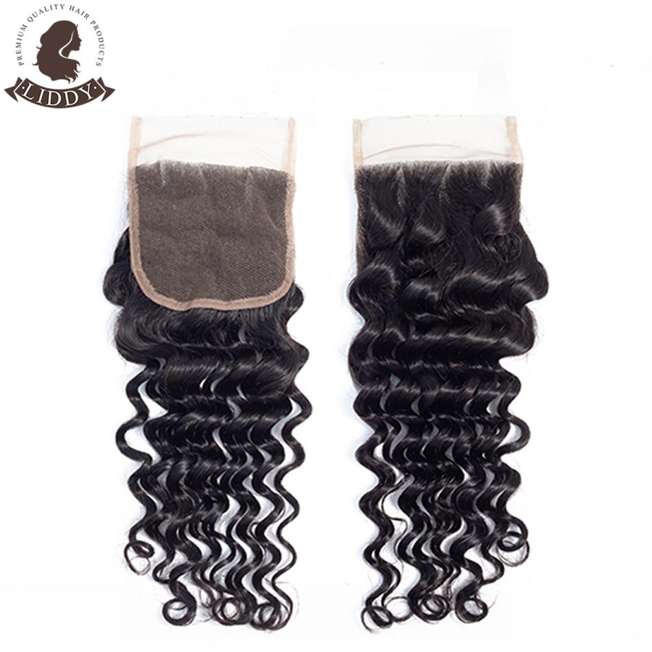 Liddy Deep Wave 4x4 Lace Closure 100% Human Hair Closure Brazilian Hair Weaving Natural Color Non-remy Hair Frontal Closure