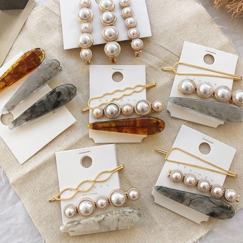 3pcs/set Korean Women Girls Metal Pearl Marble Hair Clip Combination Barrette Pearls Hairpin Hair Styling Accessories