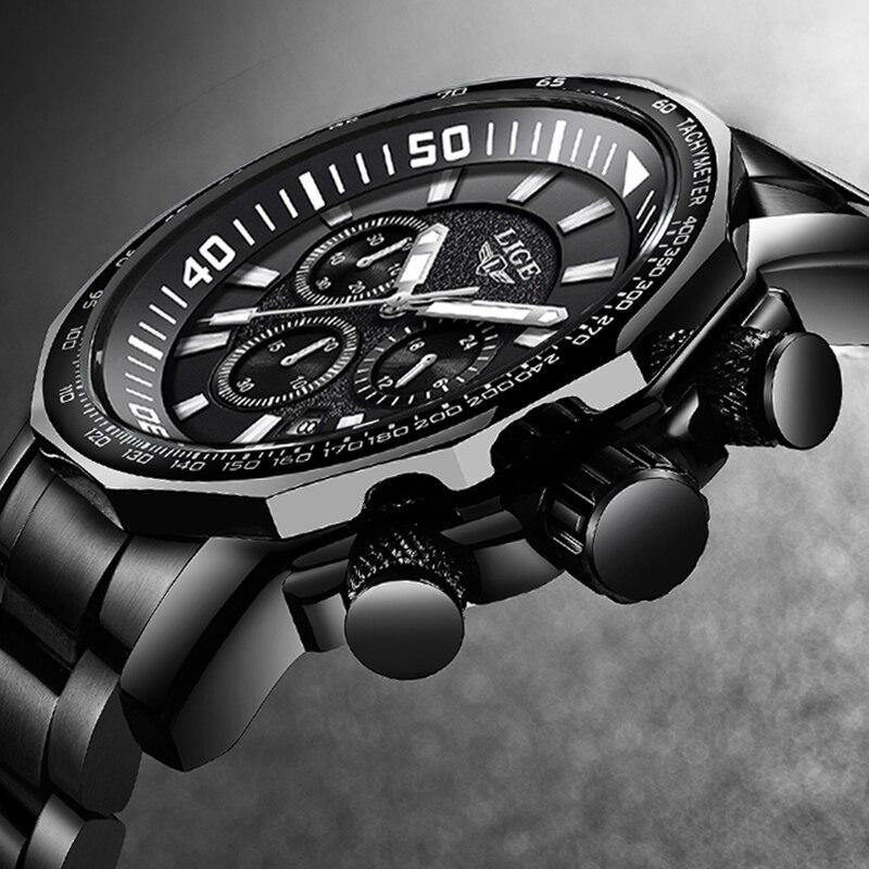 2020 New LIGE Mens Watches Top Brand Luxury Watch Waterproof Military Sports Watch Men Full Steel Quartz Clock Relogio Masculino