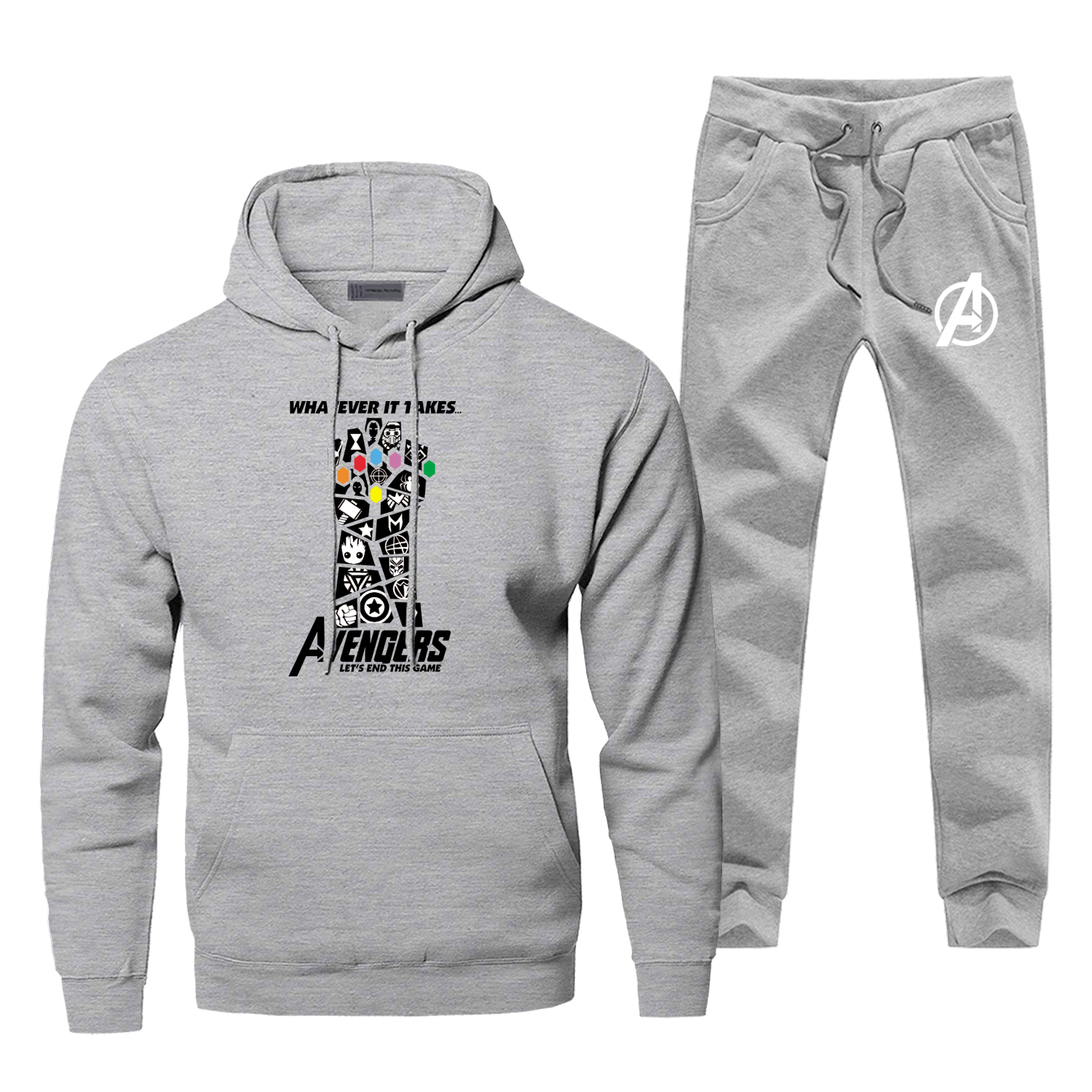 Marvel Avengers Endgame Let's End This Game Men's Sets Iron Man Infinity Gauntlet Fashion Hoodies Pants Fleece Warm Sweatpants