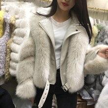 Hilardwf Short Turn-down Collar Office Lady Full Fox Fur 2021 Winter New Fashion Casual Women Zipper Jacket Female One Fur Coat