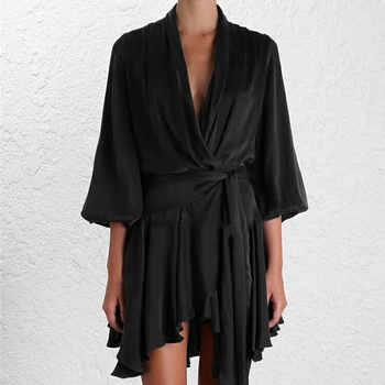 High Quality Women Fashion Asymmetrical Dress Fashion Vintage Dress Women Three Quarter Sleeve Solid Color Black Dress Vestidos - DISCOUNT ITEM  40% OFF All Category
