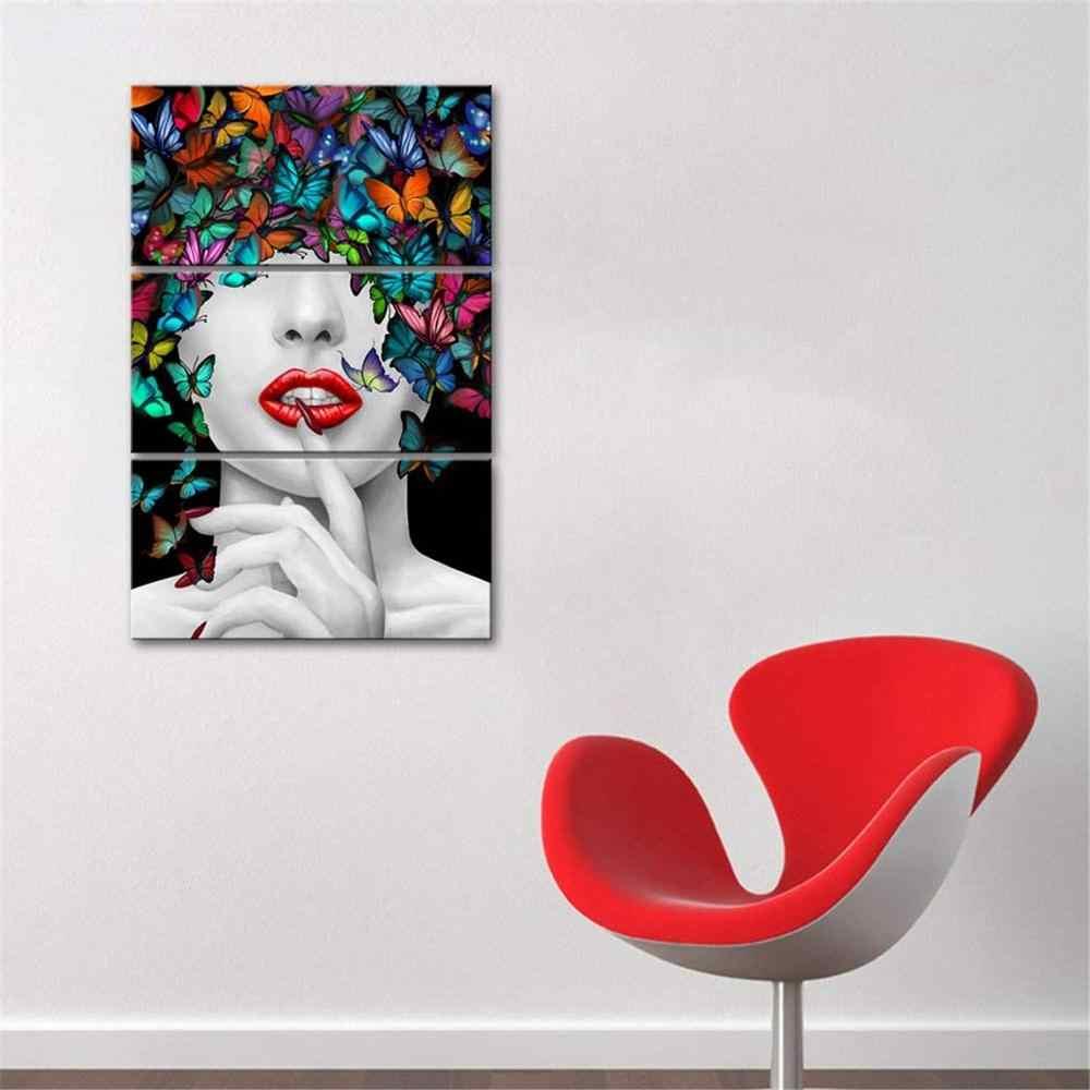 Настенные художественные красивые сексуальные женские красочные плакаты с бабочками холст 3 шт. картина искусство подарок домашний принт украшение Гостиная