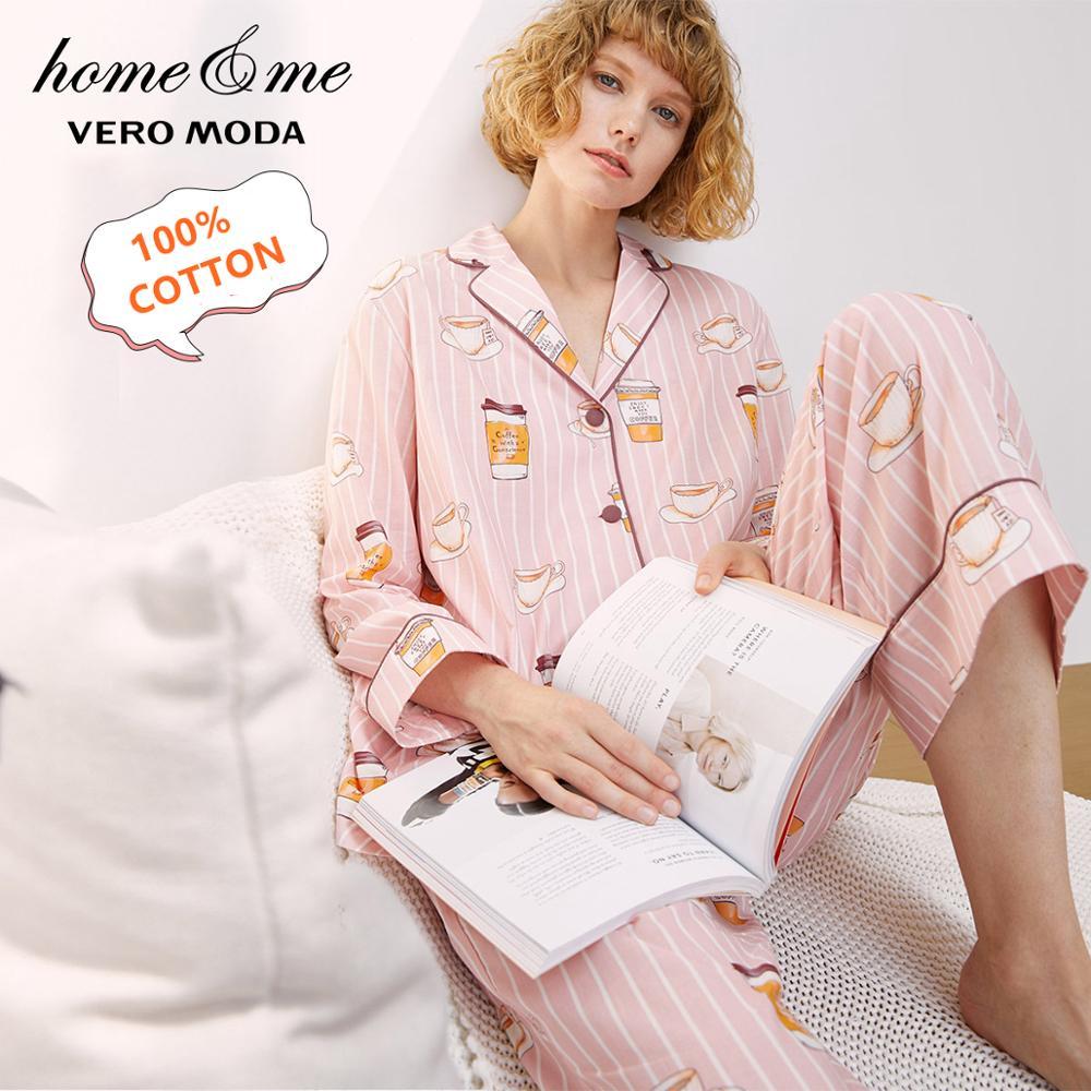Vero Moda Women's 100% Cotton Print Striped Homewear Top & Pants Pajamas Sets | 3193BS501