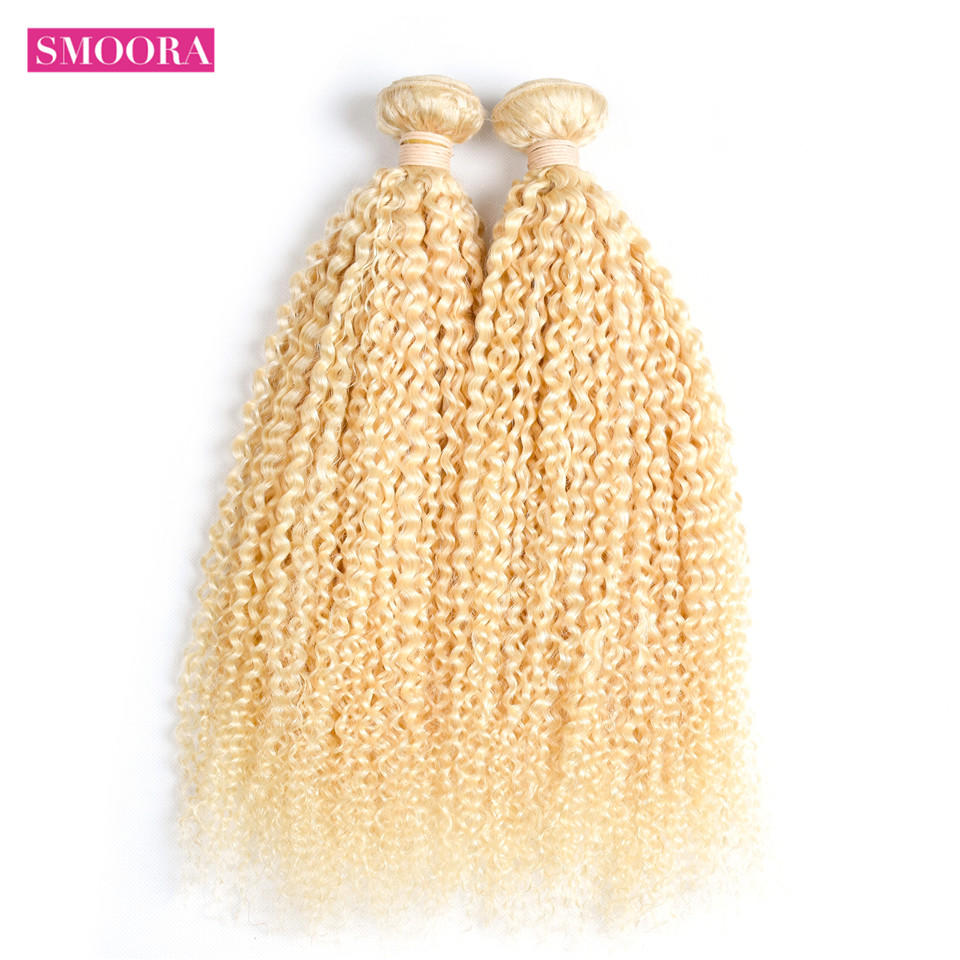 613 Blonde Kinky Curly Hair Bundles 8 - 32 Inch Light Honey Blonde   s Smoora 613 5