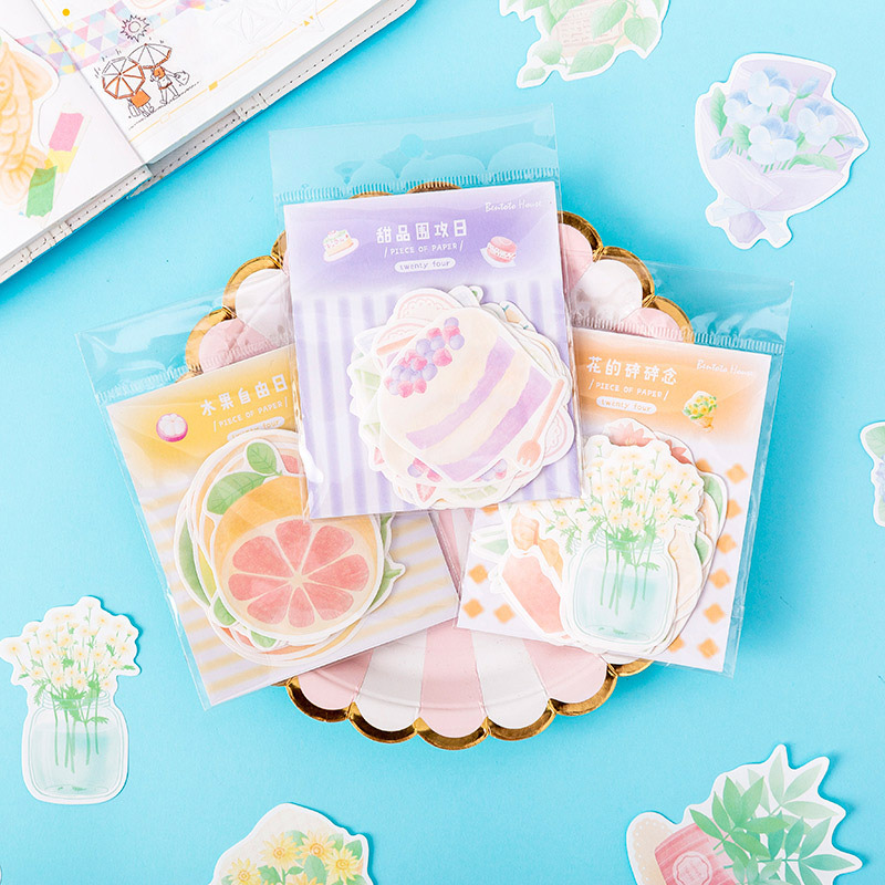24Pcs Cute Cake Memo Pads Novely Fruit Sticky Notes Writing Pads For Kids DIY Kawaii Stationery School Supplies