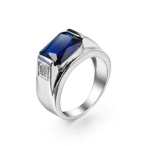 Трендовые кольца с большим синим цирконием, винтажные гальванические кольца платинового цвета в стиле арт-деко, аксессуары для мужчин и жен...