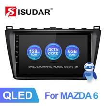 Rádio do carro de isudar v72 qled android 10 para mazda 6 2 3 gh 2007-2012 multimídia do carro da navegação de gps 8 núcleo ram 6g dvr 4g fm nenhum 2din