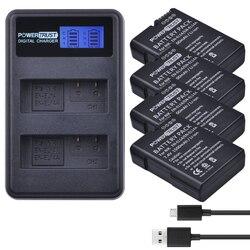 Powerconfiar bateria 1500mah EN-EL14 EN-EL14a + carregador dual usb, carregador lcd para nikon d3400 d3300 d3100 d5600 d5100 d5200 d3200 p7000