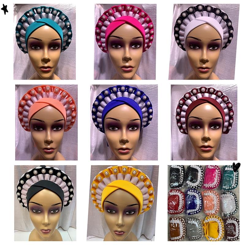 Wholesale Order 1 Dozen Newest Elegant Turban Hats Women Cap Beaded For India Hat Head Wrap Headband Girl Hair Accessories Lady