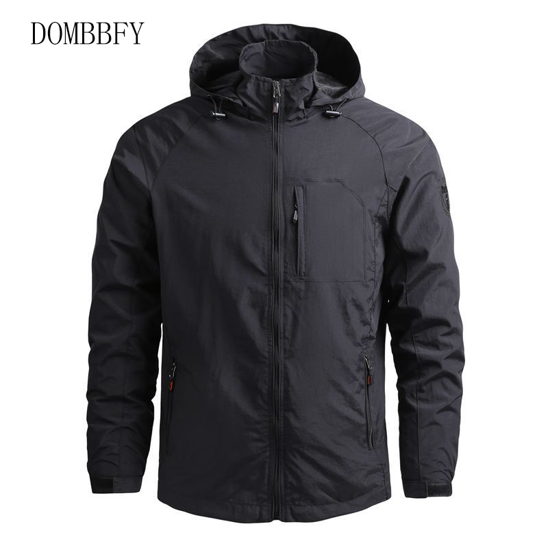 New Spring Autumn Mens Fashion Outerwear Windbreaker Men Thin Quick Dry Jackets Hooded Casual Sport Coat Outdoor Jackets 5XL