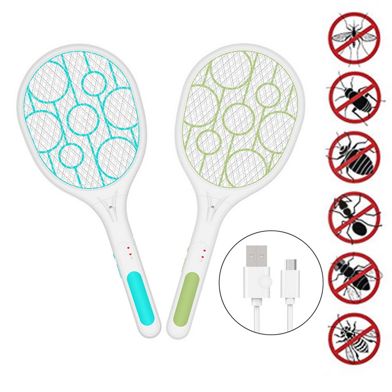 Rechargeable LED Electric Fly Mosquito Swatter Insect Bug Zapper Pest Anti Mosquito Swatter Killer Racket 3-Layer Net Safe