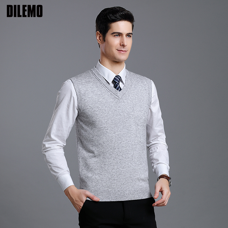 2019 New Fashion Brand Sweaters Mens Pullover Slim Fit Jumpers Knitting V Neck Vest Sleeveless Winter Casual Clothing Men