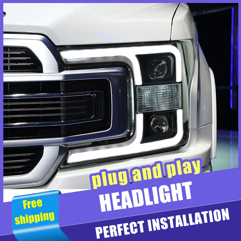 2PCS Car Style LED headlights for Ford raptor F150 18-19 for F-<font><b>150</b></font> head lamp LED DRL Lens Double Beam <font><b>H7</b></font> HID Xenon bi xenon lens image