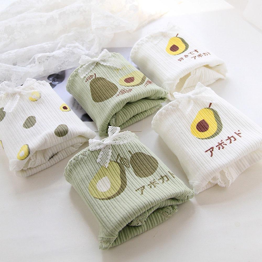Avocado Panties Lace Bow Women's Underpants Cotton Briefs Sweet Underwear Mid Waist Seamless Thong Green Lingerie