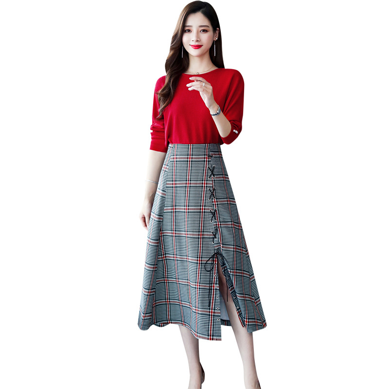 Mid-length Fashion Comfortable Set/Suit Skirt 2019 Autumn Elegant Slim Fit