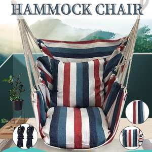 Portable Hammock Chair Swings Hanging-Rope Garden 2-Pillows Outdoor Seat with