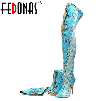 FEDONAS Sexy Animal Prints Women Over The Knee High Boots High Heeled Autumn Winter Warm Socks Boots Big Size Long Shoes Woman