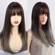Element Synthetic Long Straight Cosplay Wigs with Bangs Dark Root Ombre Grey Natural Scalp Hair Wig for Black White Women(China)