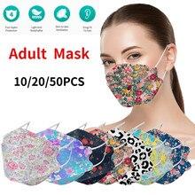 Adulto flor impresso máscara respirador máscaras fpmas9k4fp2 nano 10/20/50 pçs ao ar livre prevenção máscara de peixes máscaras de rosto transporte rápido