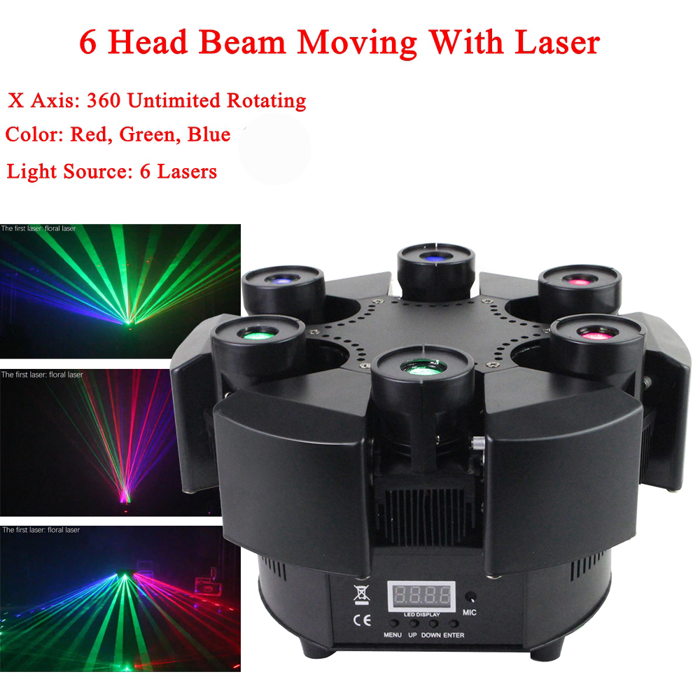 Smart 6 Heads Moving Head Beam Laser Light RGB Floral Color Laser Light Projector Unlimited Rotating Patry Disco DJ Laser Lights