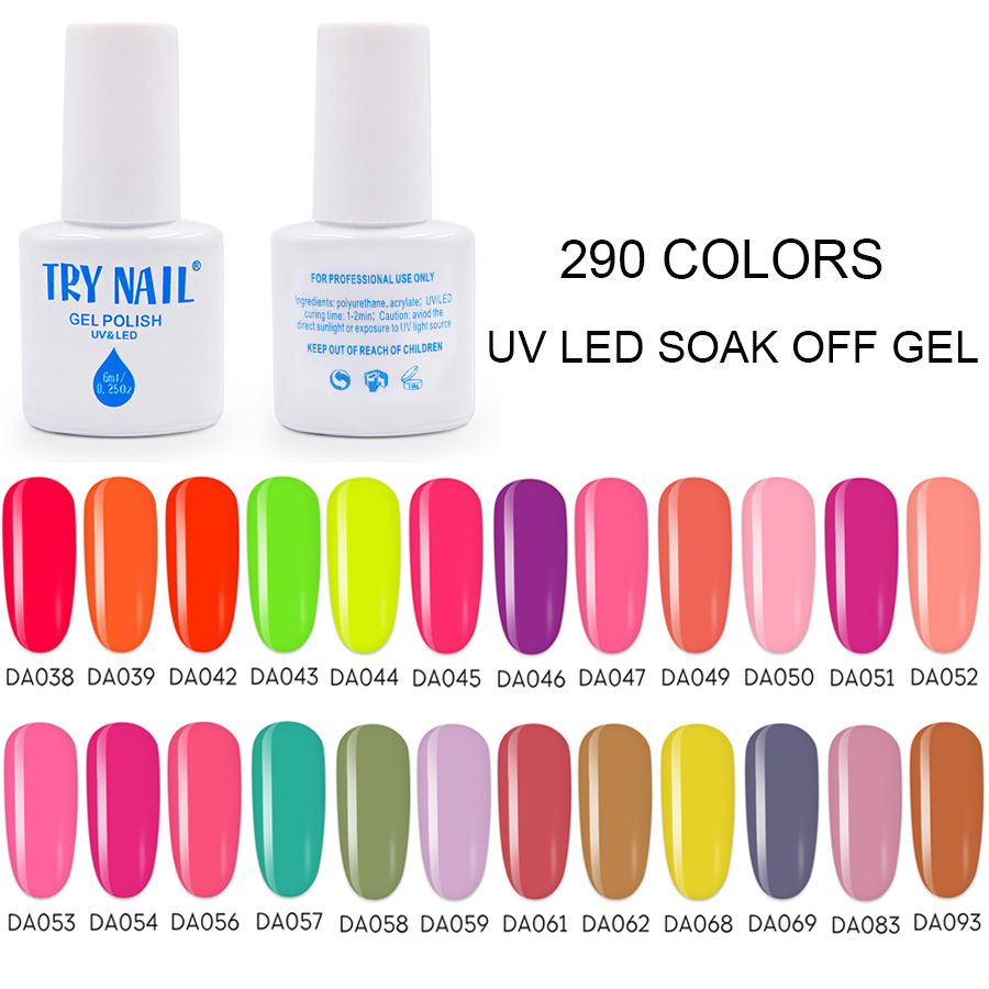 TRY NAIL Neon Coral Shiny Gel-lacquer Need Base And Top Gel Varnish 290 Pure Glitter Colors For Nail Art Makeup Women(38-75)