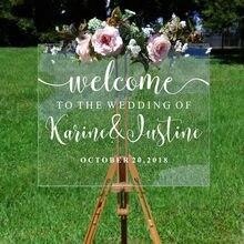 Casamento espelho de boas-vindas adesivo de vinil nomes personalizados e data decalque da parede decoração da festa de casamento sinal de vinil mural aj551