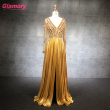 2021 New Collection Luxury Long-Sleeve V-Neck Party Gown For Fat Women Celebrity Sexy Evening Dress