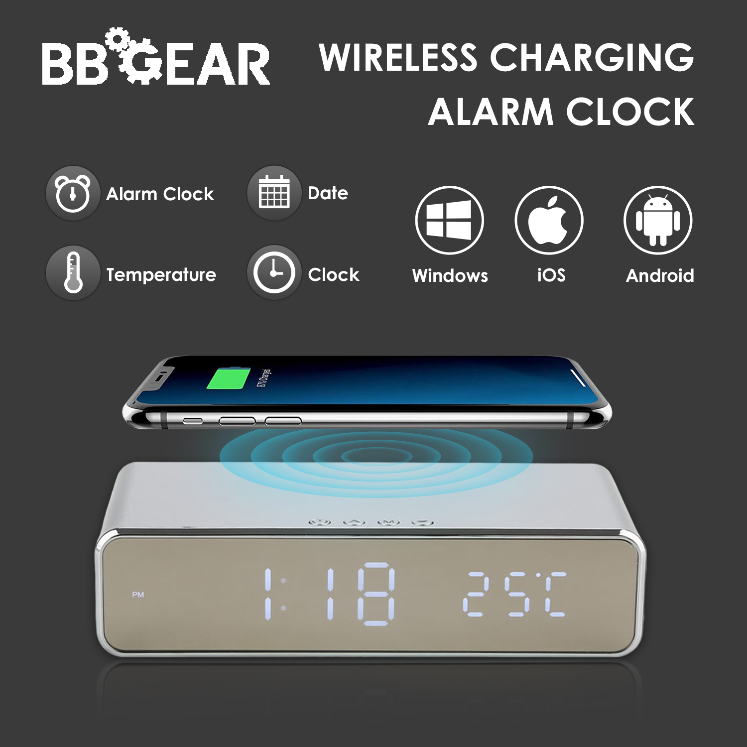 Multifunction Wireless Phone Charger With LED Alarm Clock Modern Qi Charging Electronic Desktop Digital Alarm Clock Date Temp