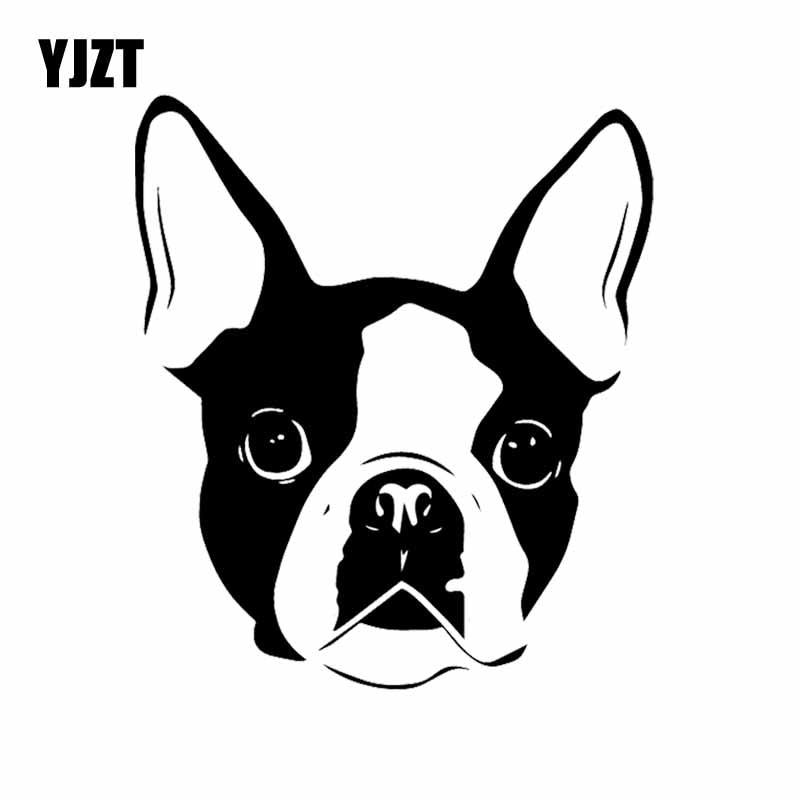 YJZT 14X16.1CM Car Sticker Funny Cartoon Boston Terrier Dog Face Vinyl Decal Black/Silver C24-1118
