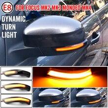 أسود الديناميكي بدوره مصباح إشارة LED الجانب مرآة الرؤية الخلفية مؤشر متتابعة الوامض مصباح لفورد فوكس 2 3 Mk2 Mk3 مونديو Mk4