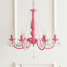 Nordic pastoral Korean pink / white princess girl child room bedroom dining room crystal chandelier lamps