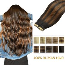 Human-Hair-Extensions Remy-Hair Tape-In Natural Invisible Skin-Weft Adhesive Brown Seamless