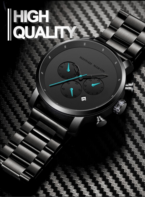 H6ffff5ec86d945b994bef1d1a001d1a1X DropShipping Big Dial 45mm Full Black Stainless Steel Multi-function Calendar Men's Top Brand Luxury Watches Relogio Masculino