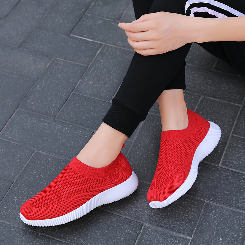 TUINANLE 2020 Women Sneakers Shoes Flats Spring Sock Sneakers Women Summer Slip on Flats Shoes Women Plus Size Walking Loafers 1