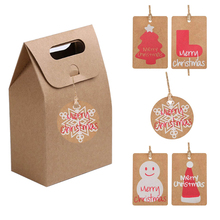 50Pcs Christmas Gift Bags Cute Dessert Packing Box With Tags Merry Kraft Paper Bag Candy Cake Party Supplies