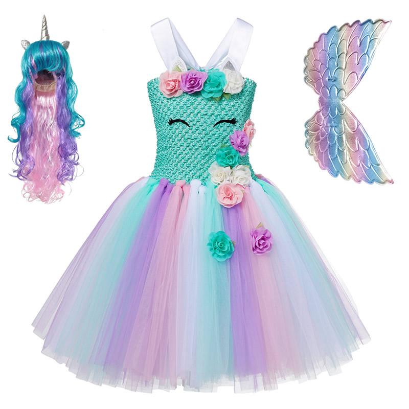 Baby Girl Rainbow Unicorn Dress Kids Green Sling Knitted Ball Gown Toddler Colorful Tulle Tutu Teenage Girls Birthday Party Sets