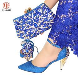 2020 Italiaanse Schoenen Met Bijpassende Clutch Bag 6 Kleuren Mode Afrikaanse Bruiloft Met Hoge Hak Sandalen Sneakers en Tas Set party