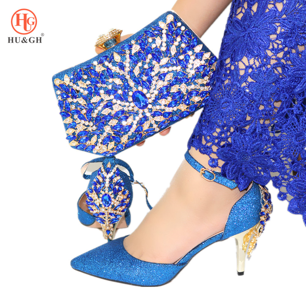 2020 Italian Shoes With Matching Clutch Bag  6 Colors Fashion African Wedding With High Heel Sandals Sneakers And Bag Set Party