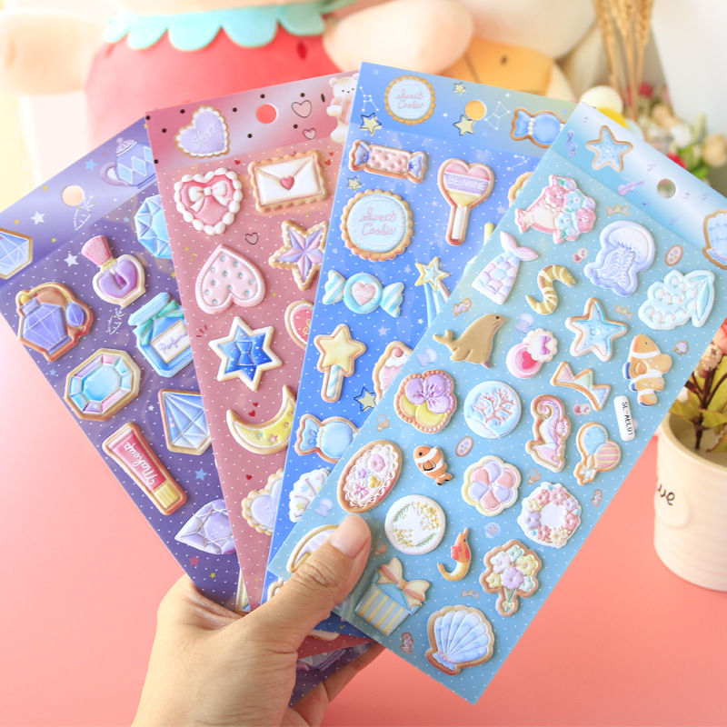 New Arrival Cute Puffy Candy Cake Diamond Heart 3D Stickers Bullet Journal DIY Scrapbooking Diary Stationery Stickers School