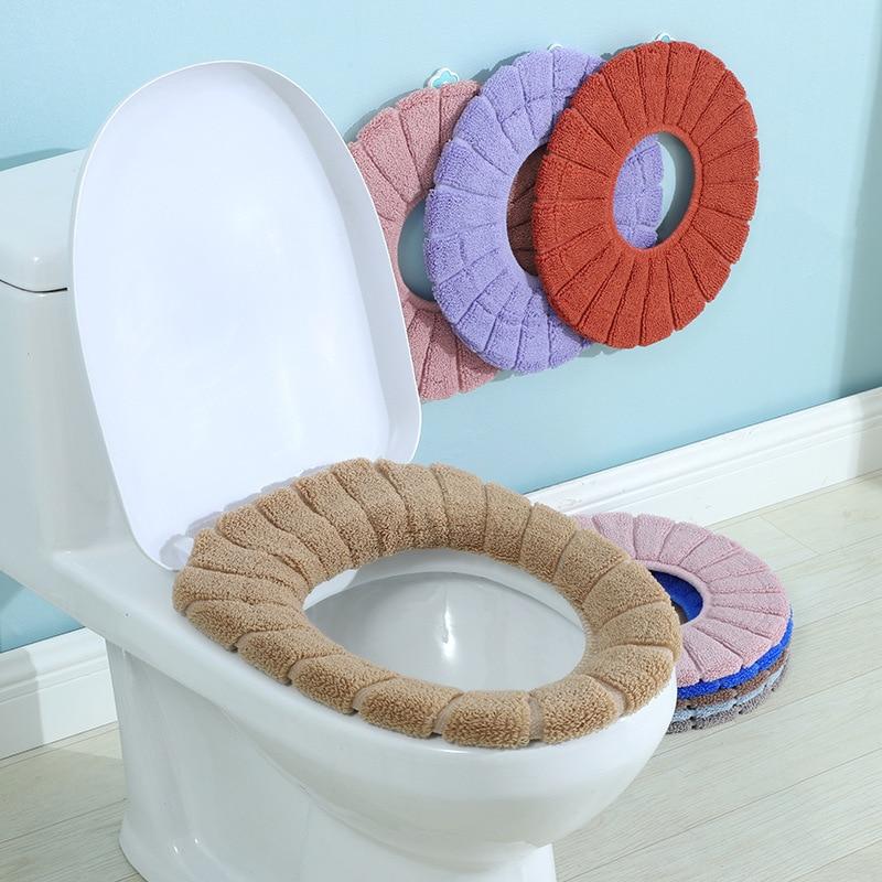 Toilet Mat Plush Soft Toilet Seat Cover Bathroom Toilet Cushion WashableMat E