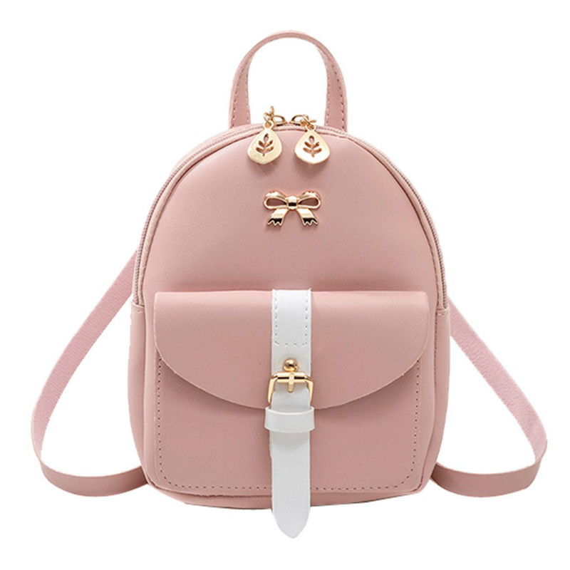 2020 New Luxury PU Leather Kawaii Backpack Cute Graceful Bagpack Women's Mini Backpack  Small School Bags For Girls Bow-knot