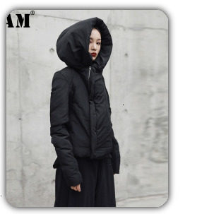[EAM] 2019 New Winter Hooded Long Sleeve Solid Color Black Cotton-padded Warm Loose Big Size Jacket Women parkas Fashion JD12101 16